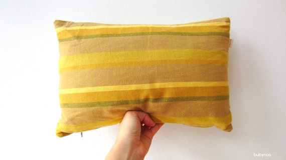 Pillow cover vintage Linen cotton blend Mid century Earth tone shades of green Yellow unique upcycled