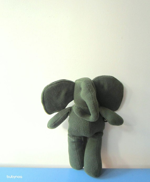 Eco friendly Baby Elephant doll green soft plush baby toy upcycled fleece sweet unique gift idea bubynoa Best Friend