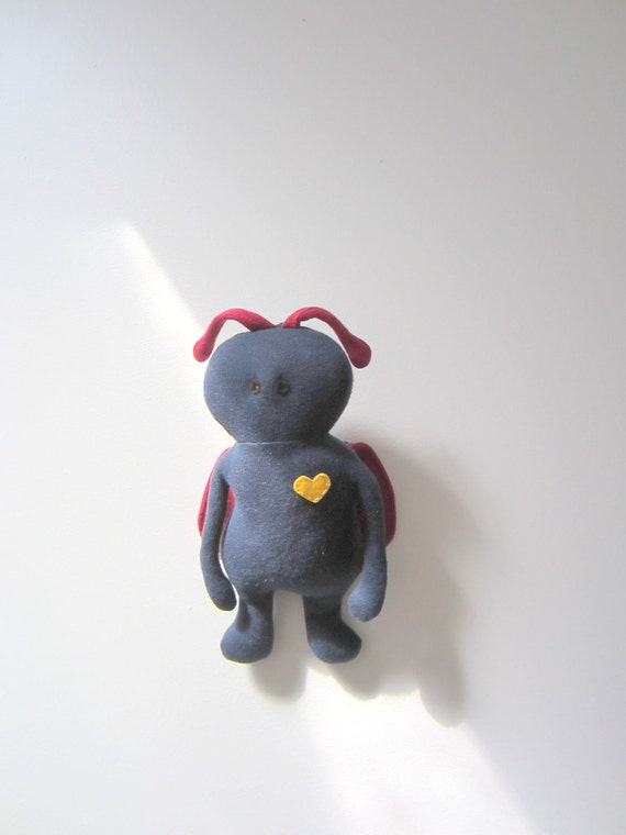 Eco friendly Critter doll OOAK soft collector item knitted cotton Navy blue Red Ladybug Green toy