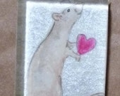 Hairless Rat on Silver Pendant OOAK Watercolor Wearable Art