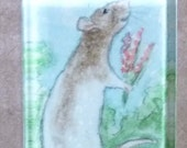 Pretty Brown Hooded Rat with Flowers OOAK Watercolor Pendant Wearable Art