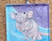 Silly Hairless Dumbo Rat OOAK Watercolor Pendant Wearable Art