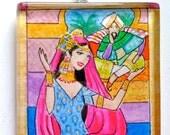 Scheherazade, OOAK Watercolor Pendant, Wearable Art