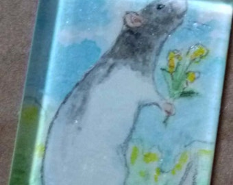 Pretty Black Hooded Rat with Yellow Flowers Pendant Wearable Art