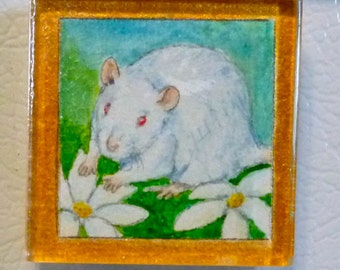 OOAK Hand Painted Watercolor Magnet: Pretty White Rat with Flowers