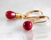 Ruby jewelry Ruby earrings 14K gold filled - ruby gemstone drops gold earrings wedding jewelry burgundy red vampire July birthstone - Eliza