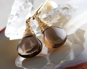 Brown earrings Smoky Quartz earrings Smoky Topaz jewelry 14K gold filled - autumn wedding harvest golden bronze chocolate brown oht - Laura