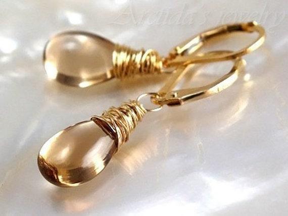 Yellow earrings Citrine earrings 14K gold filled - golden autumn wedding fall harvest women fashion handmade organic gemstone trends - Alina