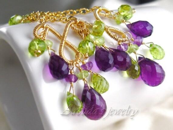 Chandelier earrings Amethyst Peridot earrings gold silver chandeliers set fine jewelry purple violet lime green chandelier rusteam - Domani