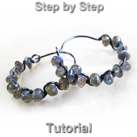 Jewelry tutorial wire wrapped gemstone hoops earrings tutorial - beaded wire wrap DIY tutorial rustic neutral - Instant Digital Download PDF