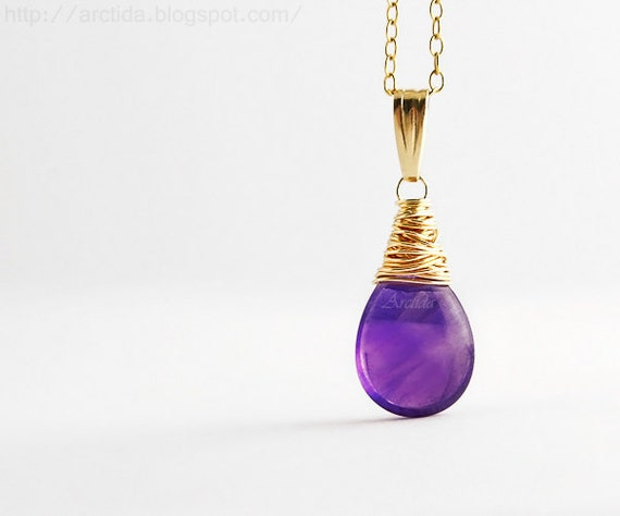 Amethyst jewelry Amethyst necklace 14K gold filled - purple necklace women fashion grape plum violet purple Wicca pagan rusteam oht  - Alina