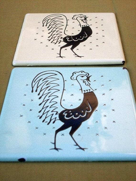 Vintage Enamel Tile The Pot Rooster from Frigidaire Trivet Set Roosters