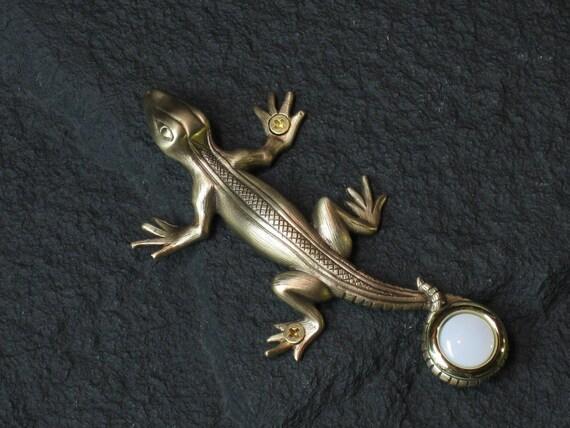Handcrafted Bronze Lizard Doorbell