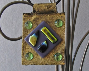 Necklace Pendant Handcrafted Fashion  Antique Gold Base with Fused Glass