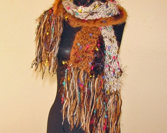 SALE - #Scarf  Long  #Wrap around #Fringes  #Fashion  #Rusty Brown White Black  #Colorful Embellishments