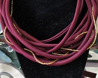 Fashion Necklace Loop Scarf Burgundy Maroon Satin Circular Infinity Spaghetti Strap Design