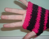 Funky Arm Warmers - Hand Knitted - Magenta and Black Stripes