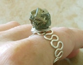 Sterling Silver & Pyrite Ring / Free US Shipping
