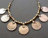 Ethnic Coin Bronze Necklace / Free US Shipping