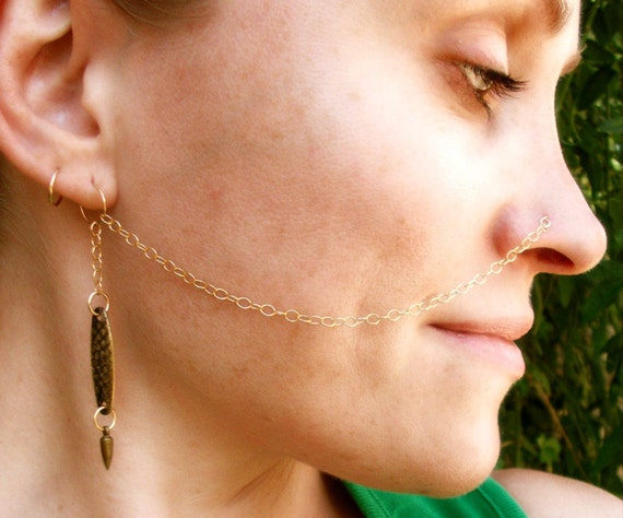 14K Gold Filled Brass Sexy Nose To Ear Chain / Free Domestic Shipping