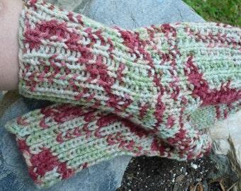 Sage and burgandy, fingerless gloves , medium, varigated