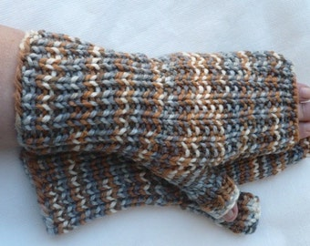 Silver and Bronze --- fingerless gloves - medium