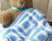 Baby Blanket Blue and White Granny Square Crochet