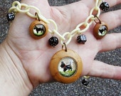 Scotty Dog Necklace with Celluloid Chain, LeatherSet Handpainted Glass Intaglios and Dice, Rockabilly