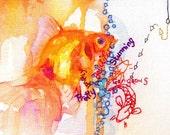 """Goldfish 6"""" x 4"""" postcard print. Koi fishing for compliments. Mimilove"""
