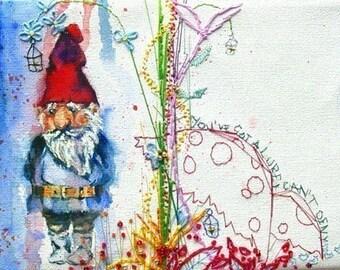 "Gnome print 6""x4"". Garden Gnome Art. Toadstool. MimiloveForever"