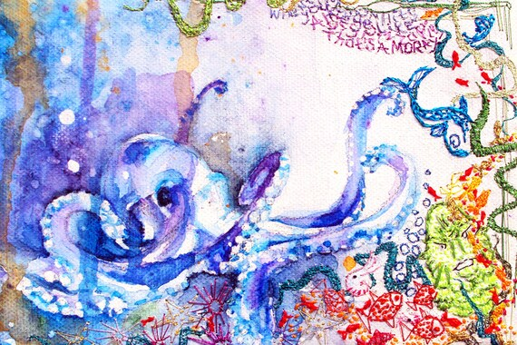 Octopus art print. Sea life Art. Octopus. Creature from Black Lagoon. Fun print