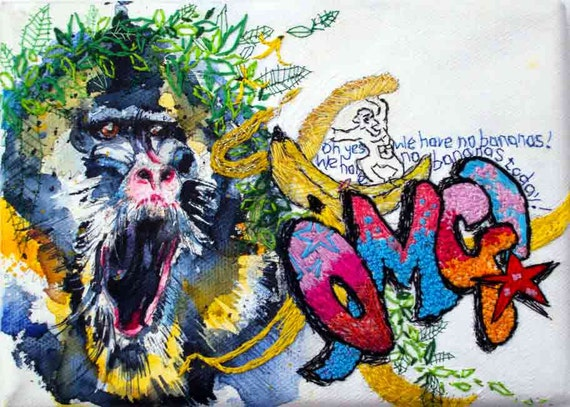 Baboon monkey art. Quirky embroidered painting. Textured original art with graffiti and bananas