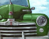 Vintage GREEN FORD CAR original oil painting