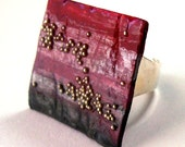 Square papier mache ring - red and grey - FREE SHIPPING