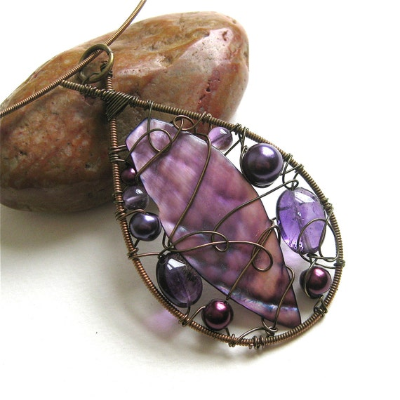 recycled guitar string necklace wire wrapped beaded teardrop. Black Bedroom Furniture Sets. Home Design Ideas