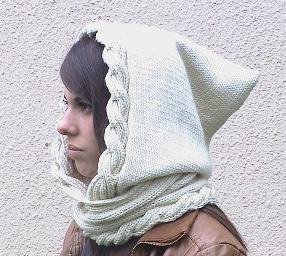 Spirit Hood Knitting Pattern : Isaure Hood knitting pattern for woman Pdf file for by ...