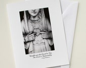 Passion: Heart, 4.25x5.5 black & white sympathy card, blank inside, Emily Dickinson quote, Madonna / Virgin Mary statue