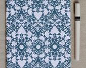 Notebook - Navy Blue & White Doily Patterned - Large