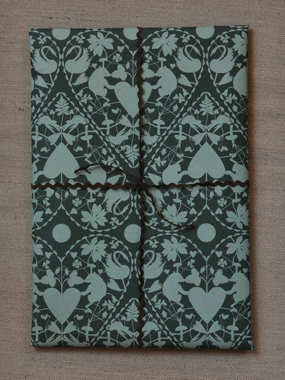 Holiday Gift Wrap - Green Teal Doily Hearts one sheet