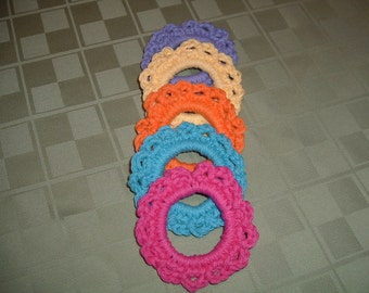 5 Crocheted Ponytail Holders