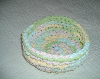 Crocheted Fabric Rag Rug Bowl  Colors of Spring