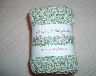 Crocheted Dish/Washcloths  Set of 3 Green Twist
