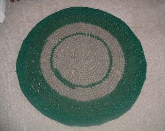 "Crochet Rag Rug   31"" Round Forest Green"