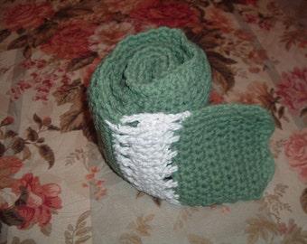Crocheted Winter  Scarf Sage Green  Cream