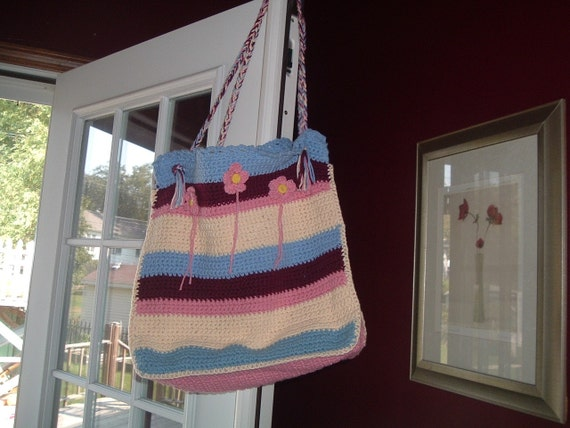 Crocheted Tote Large Multi-Color