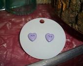 Button heart earrings (lavender)