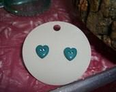 Button heart earrings (teal)
