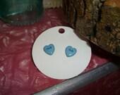 Button heart earrings (powder blue)