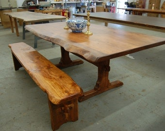 Custom Live edge trestle table