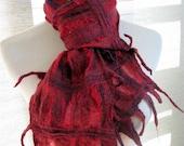 Red Scarf - Nuno Felt Scarf  -  Wool and Silk Lattice  -  899- Free Shipping Etsy